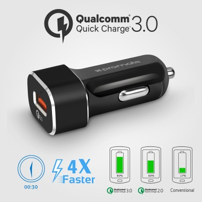 Promate Qualcomm QC 3.0 Car Charger With Magnetic Air Vent Holder And USB Type-C Cable Black