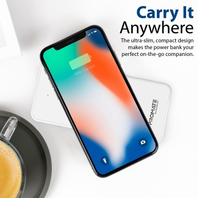 Promate Qi Wireless Charger Power Bank, Portable 10000mAh Fast Charging Portable Charger with Type-C™ Input/ Output Port, 2.1A Dual USB Port and Full Tempered Glass Panel for Smartphone, Tablet, AuraVolt-10+  White