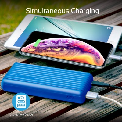 Promate 20000mAh Type-C™ Power Bank, Portable 3.1A Dual USB Fast Charging External Battery Pack with USB-C™ Input /Output Port and Over-Charging Protection for iPhone X, XS, XR, Samsung S9+/S8, Note 9, Titan-20C Blue