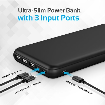 Promate Portable Charger, High-Capacity 30,000mAh Smart Charger Power Bank with Lightning and Micro USB Input, Three USB output with 2-way Type-C™ Charging Port for all USB Powered Devices, Provolta-30 BLACK
