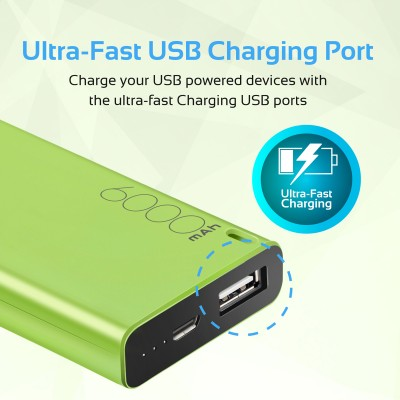 Promate Power Bank, High-Capacity 6000mAh Ultra Compact Portable Battery Charger with 2.1A USB Port Charger and Automatic Voltage Regulation for Smartphones, Tablets, MP3, GPS, Energi-6 GREEN