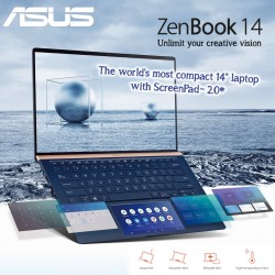 "ASUS Zenbook 14 UX434 intel 10th Gen core I7-10510 8GB Ram 32GB intel optane  512GB SSD 14"" FHD touch Military Grade Illuminated chiclet keyboard HD Cam Facial Login English Royal Blue"