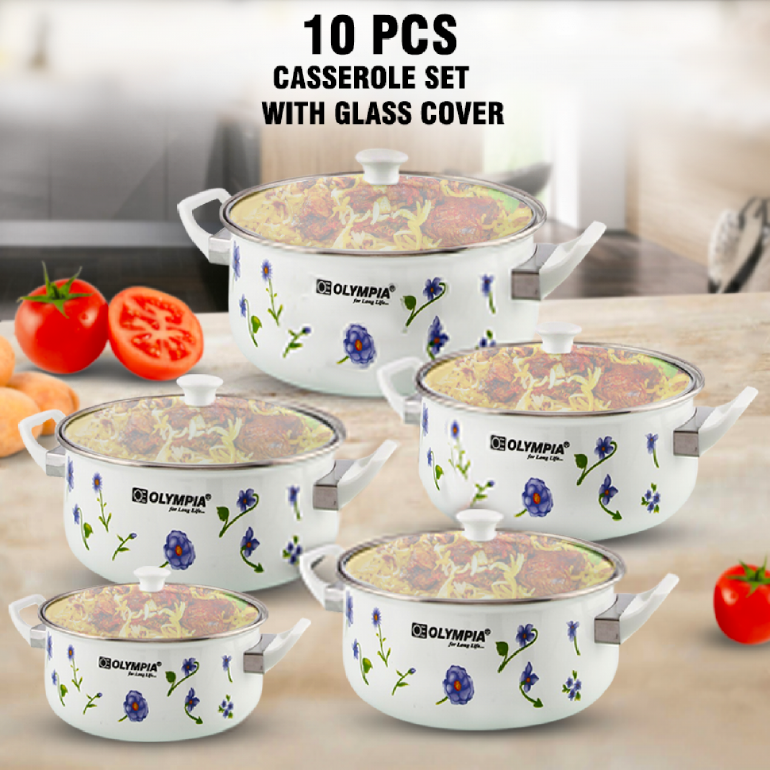Olympia OE-004, Casserole Set With Glass Cover 10 Pcs