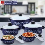 Olympia OE-015, Casserole Set With Glass Cover 10 Pcs