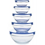 Claro Set of 5 Glass Storage Bowls -Blue