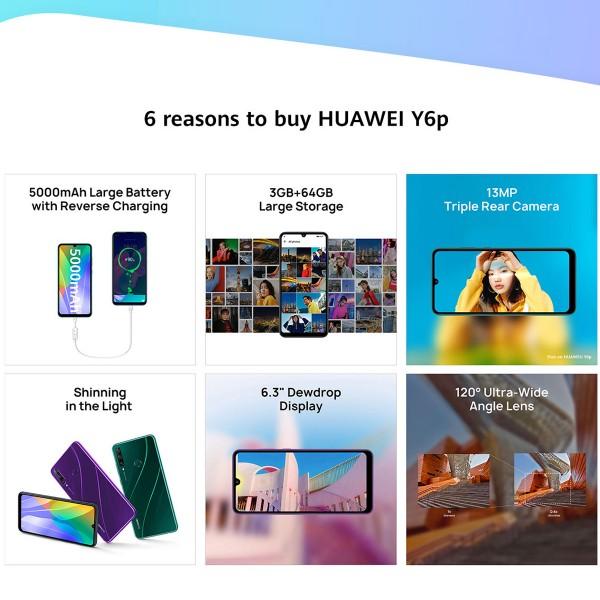 HUAWEI Y6P Dual SIM, 64GB, 3GB RAM, 4G LTE, 13MP + 5MP + 2MP Midnight Black