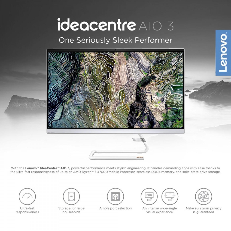 """Lenovo Desktop AIO 3-27- Intel Core i7-10700T (8C / 16T, 2.0 / 4.5GHz, 16MB) 16GB( 2x 8GB ) DDR4-2933, 1TB HDD, 2GB Radeon - 27"""" FHD non-touch screen Windows 10 White color"""