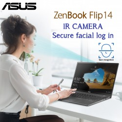 Asus ZenBook Flip UX463 Ultra Slim Convertible Intel 10th Gen i7-10510 16GB 512GBSSD 14'' Full HD Multi Touch Illuminated Chicklet UK English Keyboard IR HD Camera with facial login Gun Grey Color