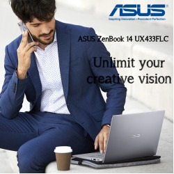 Asus ZenBook UX433FLC-A5420T 14'' Full HD intel 10th Gen I5-10210U 8GB 256GB SSD  Nvedia 2GB-MX250 Windows 10 Icicle Silver En-Ar Keyboard