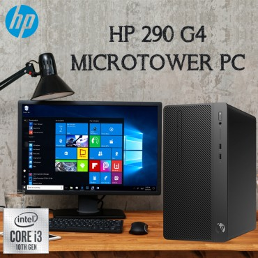 """Hp Desktop 290 G4 Micro tower Intel Core i3-10100, 4GB, 1TB, DOS, Eng with 18.5"""" LED and USB Keyboard and Mouse"""