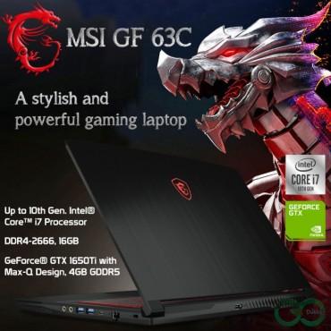 "MSI Gaming Laptop GF63 THIN 10SCSR I7-10750H 16GB 512GB SSD 4GB GTX 1650 MaxQ 15.6"" Full HD DOS AR-EN"