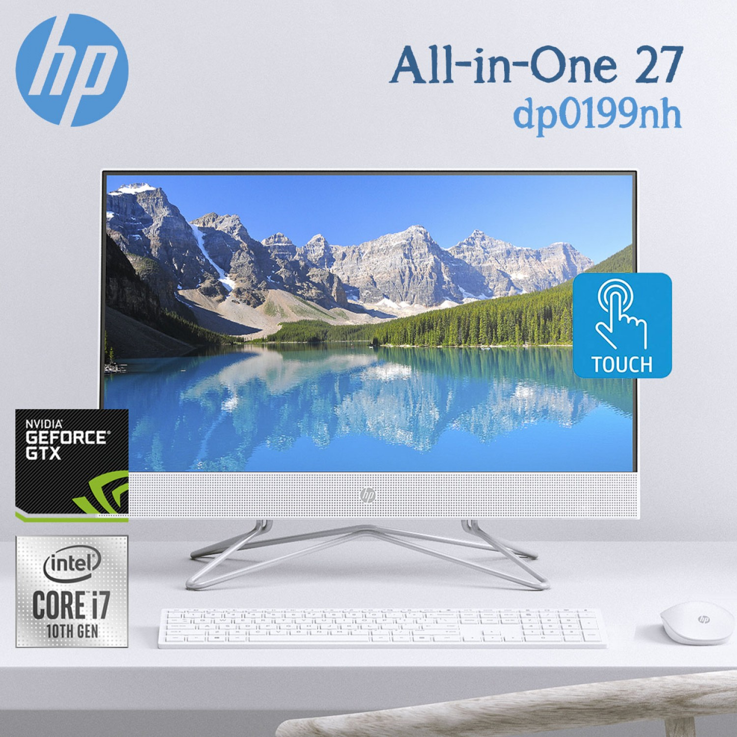 """HP Laptops AIO HP All-in-One 27-dp0199nh 10th Gen i7-1065G7 16GB Memory 2TB HDD NVIDIA MX330 2GB 27"""" Full HD Multitouch Natural Silver"""